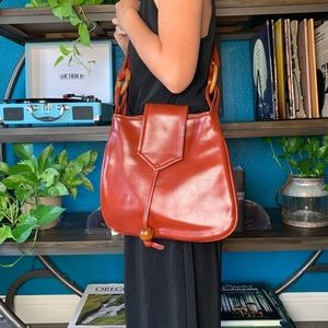 VINTAGE rust colored VEGAN LEATHER crossbody
